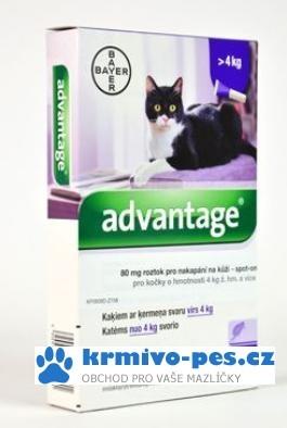 Advantage 80 10% 4x0,8ml pro kočky nad 4kg + kapsička pro kočky zdarma