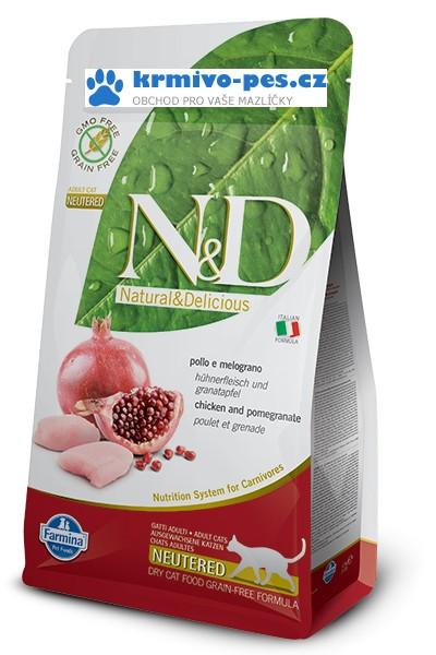 N&D Grain Free CAT Neutered Chicken&Pomegranate 1,5kg + paštika pro kočky 100g zdarma + sleva pro registrované