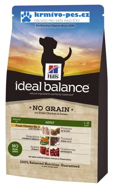Hill's Canine Ideal B. Adult NO GRAIN kuře a brambory 2kg
