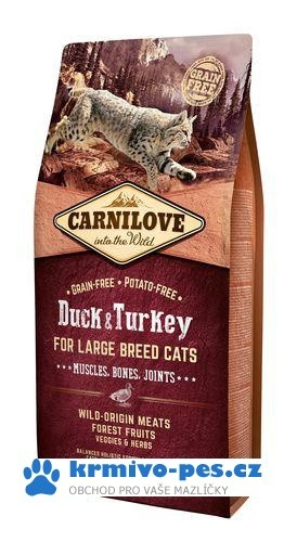 Carnilove Cat Large Breed Duck&Turkey Muscles,Bones,Joints 6kg