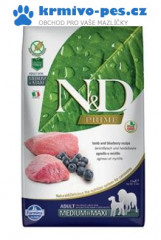 N&D PRIME DOG Adult M/L Lamb & Blueberry 2,5kg + doprava zdarma