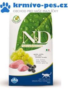 N&D Grain Free CAT Adult Lamb & Blueberry 1,5kg + paštika pro kočky 100g + sleva pro registrované