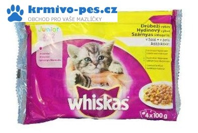 Whiskas kapsa Junior drůbež výběr v želé 4x100g
