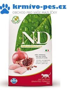 N&D Grain Free CAT Adult Chicken & Pomegranate 1,5kg + paštika pro kočky + sleva pro registrované
