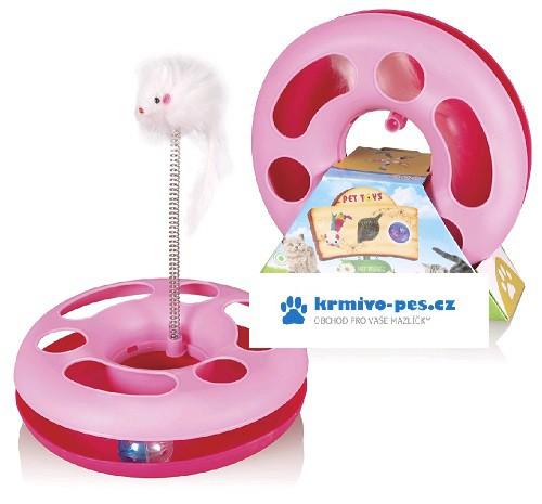 Hračka kočka Speedy ball s myší na pružině