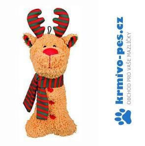 Hračka pes Vánoční Sob s šálou plyš 27cm TR