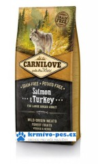 Carnilove Dog Salmon&Turkey for Large Breed Adult 12kg  + dentální pamlsek